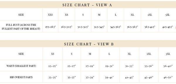 Eloise size chart