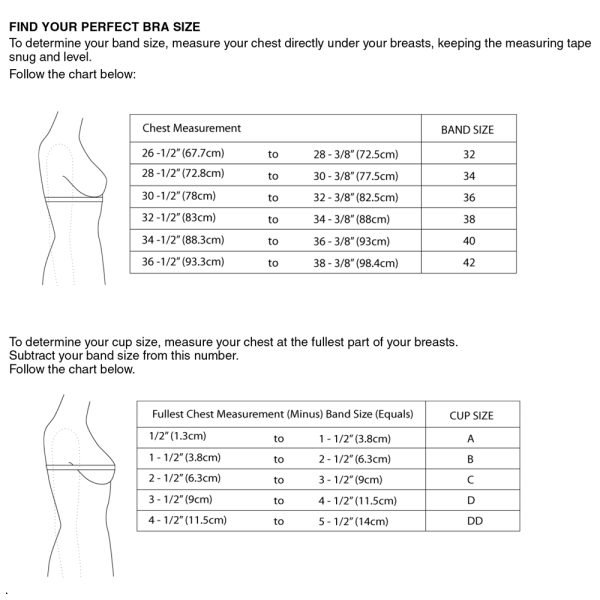 bra making size chart