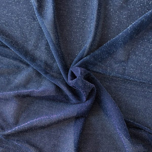 metallic blue stretch mesh