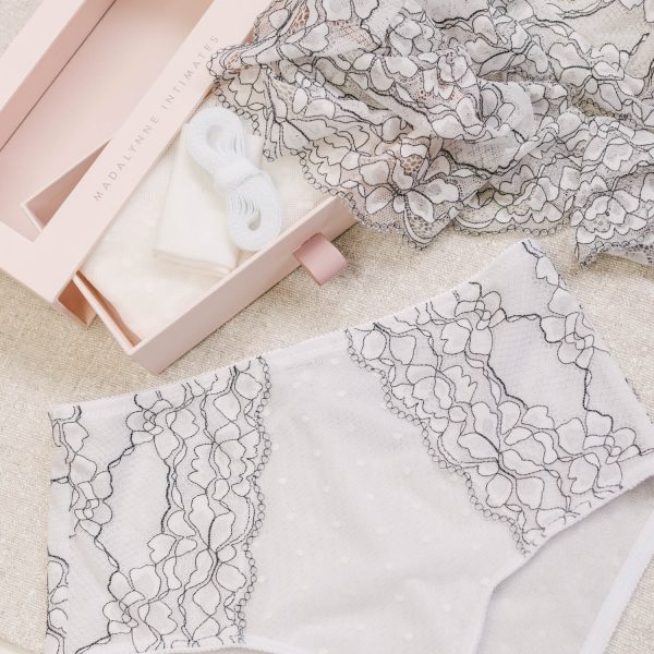white lace underwear by Madalynne Intimates