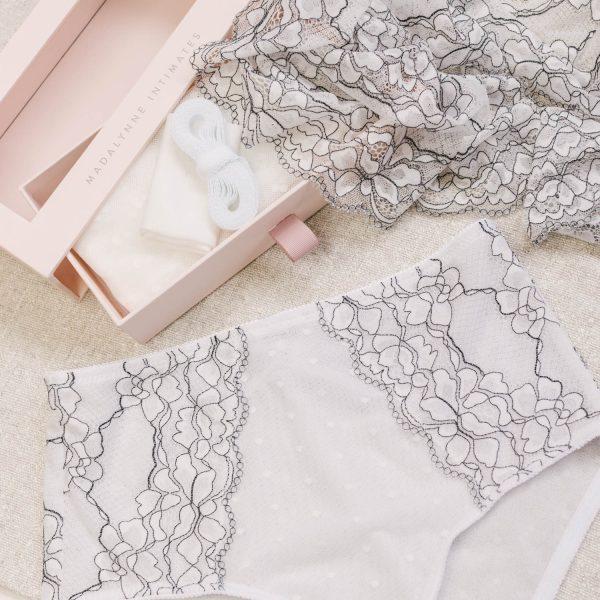 white lace underwear by Madalynne Intimates