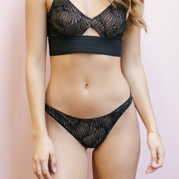 Lia black thong by Madalynne Intimates